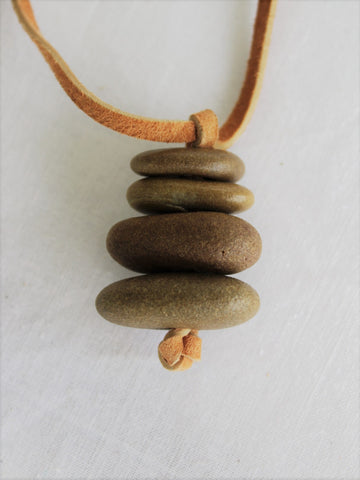 Stone Necklace with Leather Cord, Sea Stone Necklace
