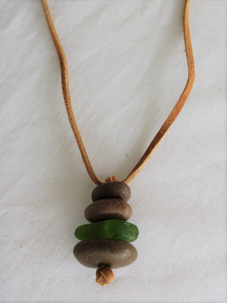 Stone and Sea Glass Necklace with Leather Cord