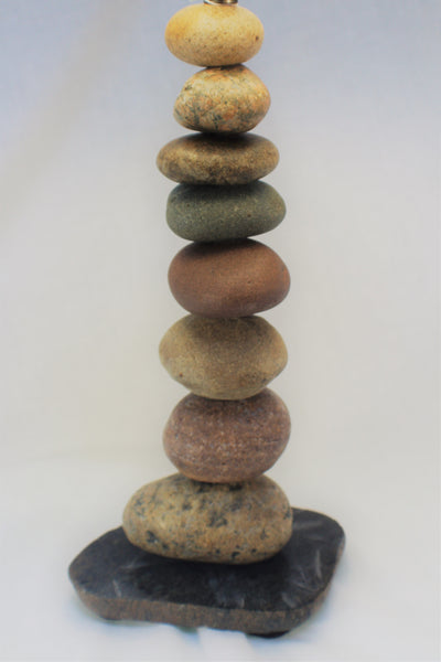 Rock Lamp (medium), Stacked Stone Lamp, Cairn