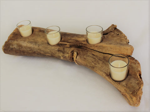 Driftwood Candle Holder - 4 Glass Tea Light Holders
