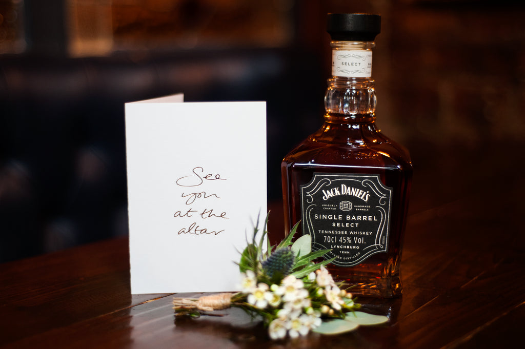 Jack Daniels, a groom and a wedding day gift.