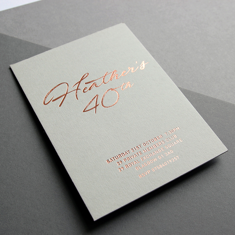 Invitation design and foil print by Caddie and Co