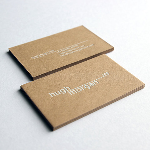 business card design by Caddie and Co for Hugh Morgan OBE