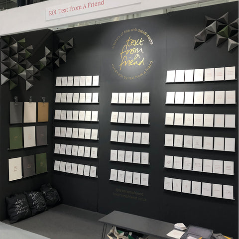 trade show stand for text from a friend at top drawer london