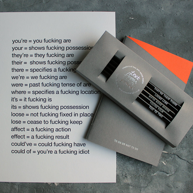 The Grammar Gift Set is an A4 print on correct spelling, grammar black pencil set and an orange and grey To Do Or Not To Do handmade notebook