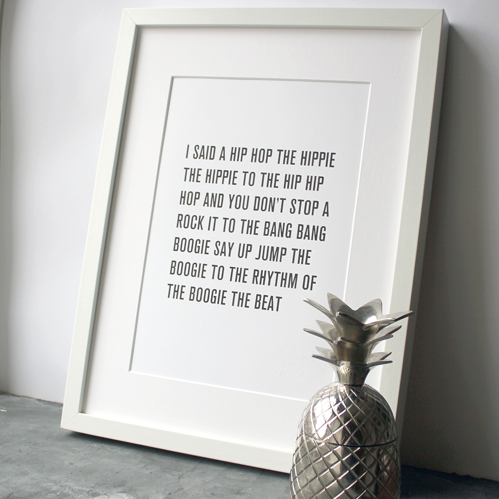 Hip Hop the hippie lyrics by the Sugarhill Gang in a typographic print