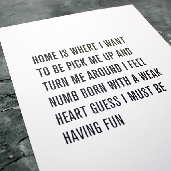 This Must Be The Place by Talking Heads a Typographic designed lyric Print