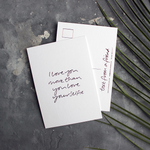 a hand pressed rose gold foil postcard that says I Love You More Than You Love Your Selfie
