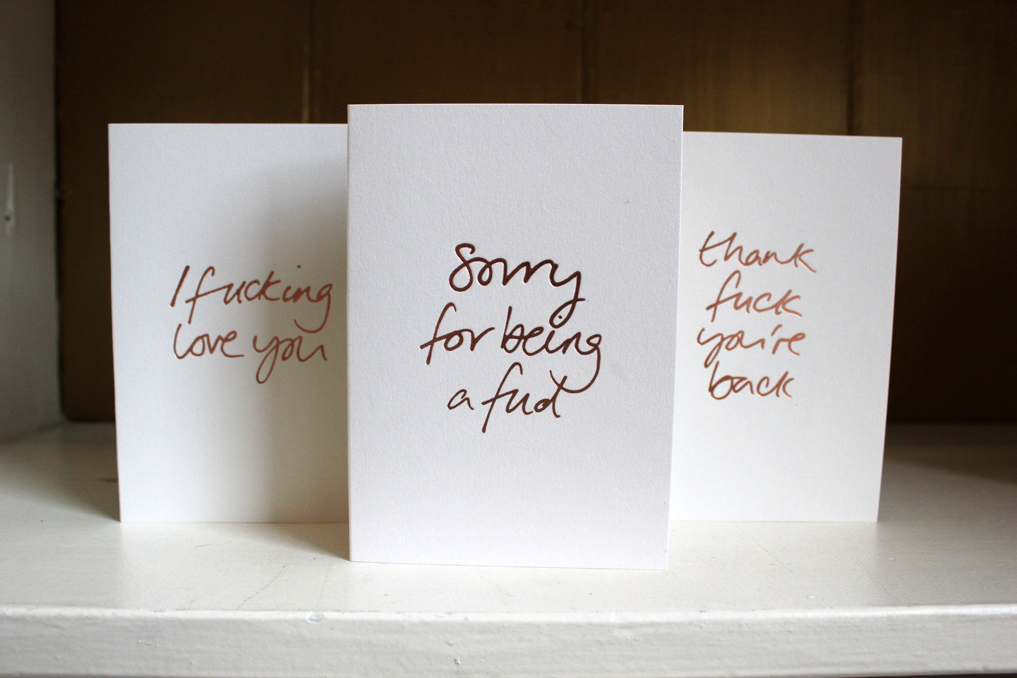 Buy any 5 handmade rose gold foil cards for £15.00