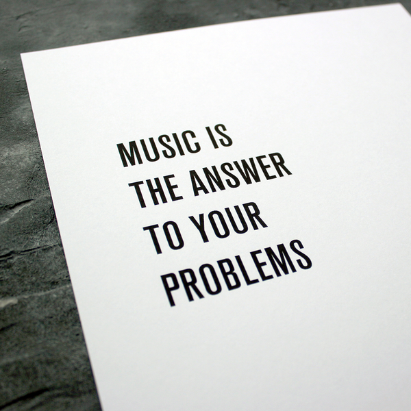 Music is the answer by Danny Tenaglia a Typographic song lyric Poster