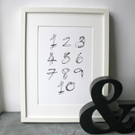 This children's one to ten numbers print is a unique hand drawn typography design in black on white paper.