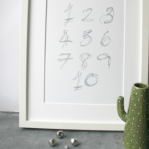 This children's one to ten numbers print is a unique hand drawn typography design in grey on white paper.