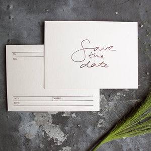 a luxury hand foiled blush save the date invitation that's blank on the back for your details