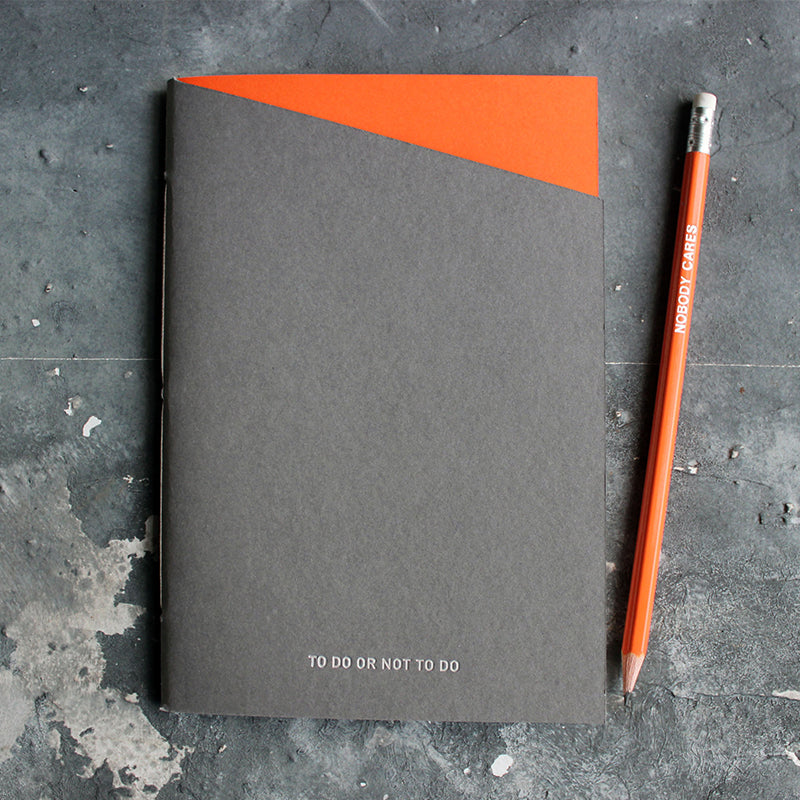 To Do Or Not To Do orange and grey handmade and hand foiled notebook