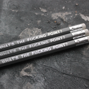 Grey pencils with a silver foil blocked message that says What's The Fucking Point?