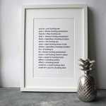 The ultimate grammar print framed that tells people the correct spelling between your and you're