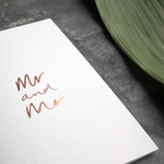 this luxury wedding card for the gay couple says Mr and Mr on the front, handwritten and hand foiled in rose gold