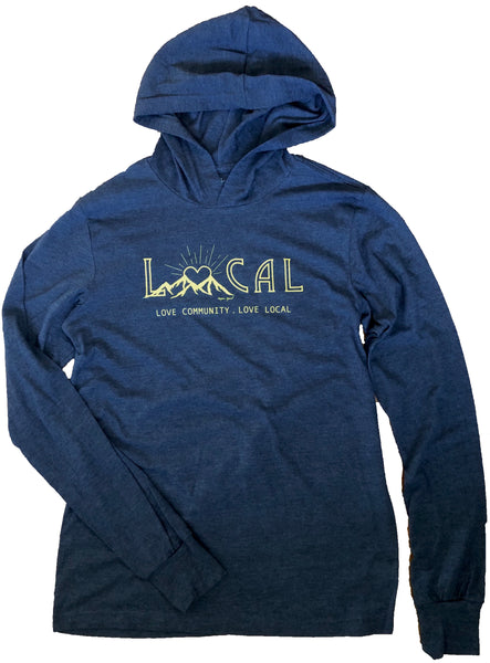 Love Local Navy Lightweight hooded long sleeve - Unisex