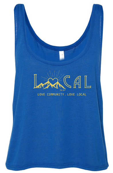 Love Local Crop Tank Top Blue - Womens