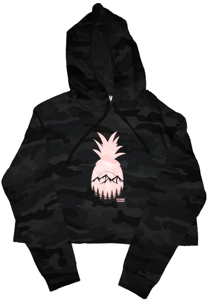 Black Camo Crop Hoodie - powder pink