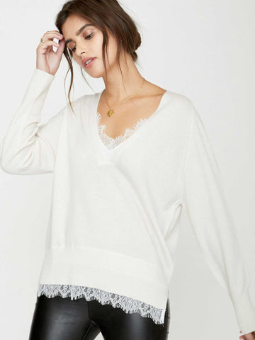 The Lace Vee Layered Pullover