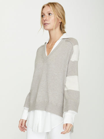 The Striped V-neck Layered Pullover