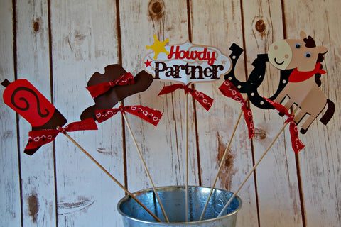 Cowboy Birthday Party Centerpiece, Western Party Decorations, Rodeo Birthday Centerpiece