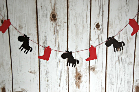 Cowboy Garland, Western Party Banner, Photo Prop, Backdrop Decoration