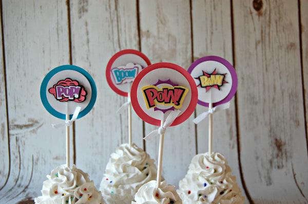 Superhero Party Theme Cupcake Toppers (set of 12) - We Bring the Party