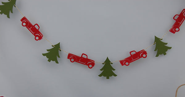 Christmas Truck Party Garland, Christmas Tree Party Decor, Holiday Birthday Banner