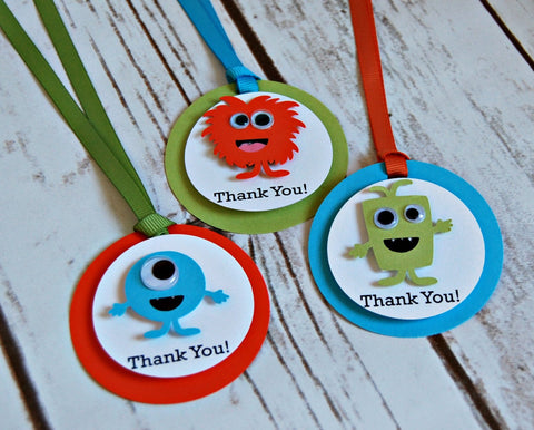 Monster Theme Birthday Party Favor Tags, Mini Monsters Party Favor Bags, Little Monster Theme Party Favor Tag (set of 12) Completed or DIY