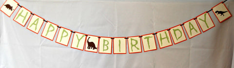 Dinosaur Happy Birthday Banner, Dinosaur Silhouette Birthday Party Banner, Dinosaur Party Decorations, Dino Birthday Party Decor