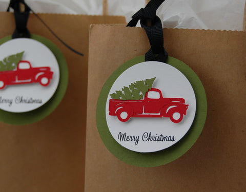 Christmas Truck Party Gift Tag, Christmas Tree Party Decor, Holiday Birthday Favor Tags (set of 12)