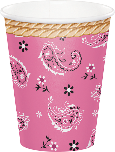 Cowgirl Pink Bandana Paper Cups (8 count)