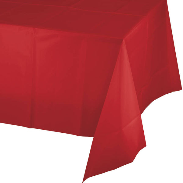 "Classic Red Plastic Tablecover, Rectangular Party Tablecloth (54"" x 108"")"