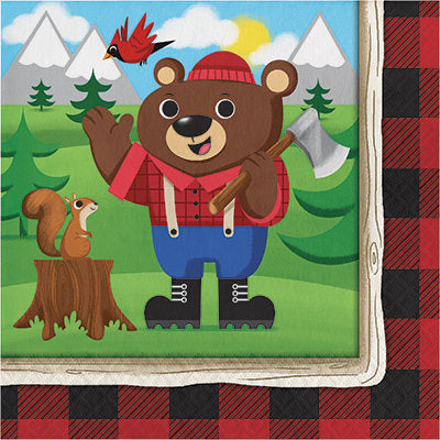 Lum-Bear-Jack Luncheon Napkins, Lumberjack Party Paper Napkins, Hunting Party Dinnerware, Dinner Napkins