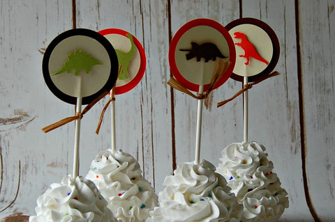 Dinosaur Silhouette Birthday Party Cupcake Toppers (set of 12) - We Bring the Party - 1