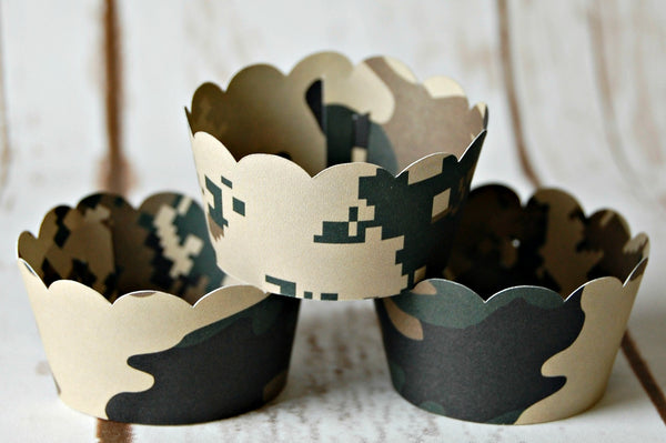 Camo Mini Cupcake Wrappers (set of 12) - We Bring the Party