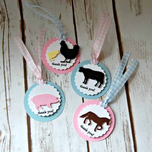 Vintage Chic Farm Theme Birthday Party Favor Tags, Barnyard Party Favor Bags, Farm Animal Party Favor Tag (set of 12) Completed or DIY