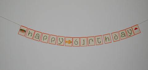 Fishing Happy Birthday Banner, Camping Theme Decoration