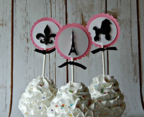 Paris Themed Birthday Party Cupcake Toppers - Eiffel Tower Party Decorations (set of 12)