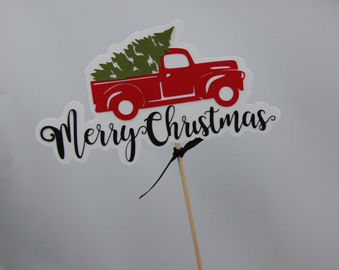 Christmas Truck Party Centerpiece, Christmas Tree Party Decor, Holiday Birthday Centerpiece Sticks