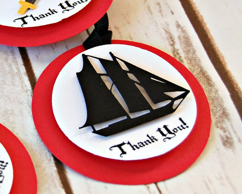 Pirate Birthday Party Favor Tags, Party Tags, Goody Bags, Thank You (set of 12)