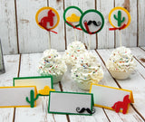 Fiesta Birthday Party Cupcake Toppers, First Birthday, Cinco de Mayo Party, Mexican Fiesta, Mexican Theme (set of 12)