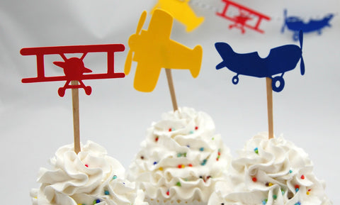 Airplane Pilot Basic Birthday Party Cupcake Toppers (set of 12)