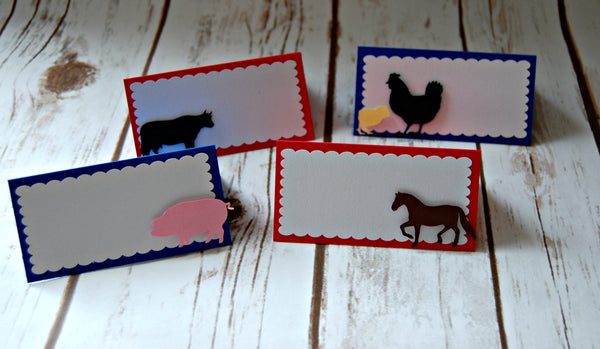 Vintage Chic Farmer's Party Name Cards, Farm Birthday Buffet Tags - We Bring the Party - 1
