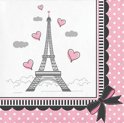 Paris Party Beverage Napkins, Little Girl Dessert Napkins, Eiffel Tower Paper Napkins, Birthday Party Tableware (set of 16)