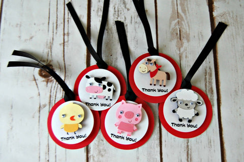 Farm Theme Birthday Party Favor Tags, Barnyard Party Favor Bags, Farm Animal Party Favor Tag (set of 12) Completed or DIY