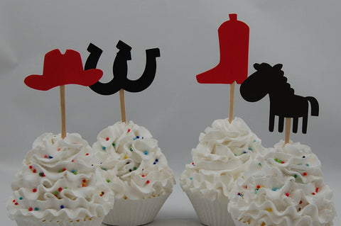 Cowboy Birthday Party Basic Cupcake Toppers, Farm Party Toppers, Cowboy Birthday Party Decorations (setof 12)