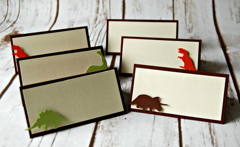 Dinosaur Silhouette Birthday Party Food Buffet Name Tags (set of 6) - We Bring the Party - 1